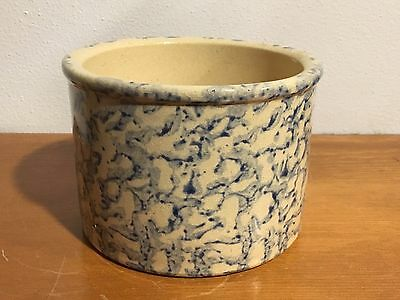 "3"" Tall - Robinson Ransbottom Pottery Blue Spongeware Small Crock RRP         a2"