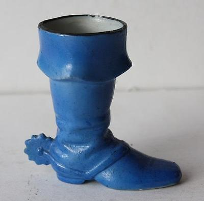 Blue Pirate Boot with Spur Toothpick-Match Holder Ceramic Vintage Made in Japan