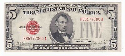 1928-E $5 Five Dollars Red Seal Legal Tender United States Note Vf+