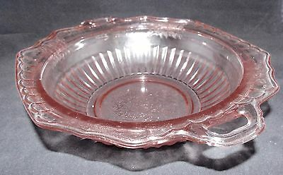 "Pink Mayfair Open Rose 10"" Open Vegetable Dish By Hocking Glass"