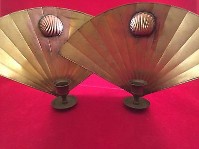 Original 1920s Vintage Antique Brass Wall Sconce Candle Fan Art Deco Gatsby