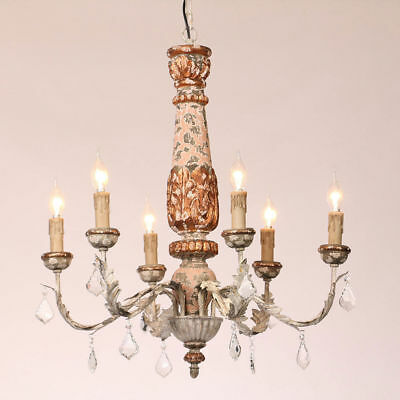 Antique Ceiling Pendant Lamp 6-Light Retro Living Room Chandelier with Crystal