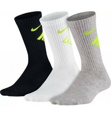 Nike 3 Pack Performance Cushioned Training Crew Socks Youth 5Y-7Y Boys Girls New