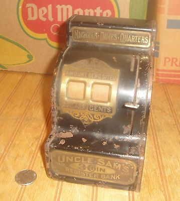 Antique Vintage Uncle Sam's 3 Coin Register Bank Toy as is not working