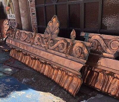 Rare Architectural Salvage Copper Cornice Valance Trim 5 Pieces 55+ Feet