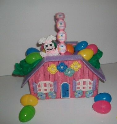 """Easter Basket """"Handmade"""" House with Bunny on it, Stiff Plastic Canvas, Easter"""