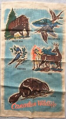 Vintage 50's  60's 70's Retro Canada Tea Towel Kitsch Superb Colours