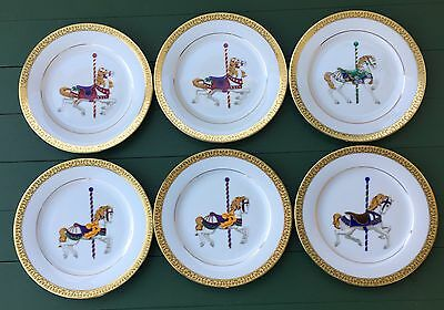 Royal Gallery Gold Buffet Carrousel Set of 6 Plates Merry Go Round Carousel