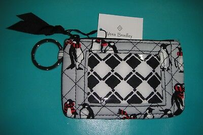 """VERA BRADLEY ICONIC ZIP ID CASE in the  """"PENGUINS GRAY"""" PATTERN.  NWT! CUTE!"""