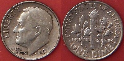 Brilliant Uncirculated 1961P US Roosevelt Silver 10 Cents From Mint's Roll