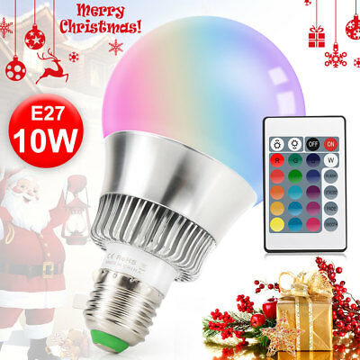 E27 Bulb 10W RGB LED Light Bulb 16 Color Changing Magic Lamp with Remote Control