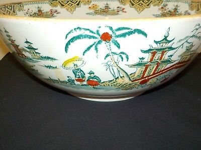 Large Petrus Regout Maastricht Holland Chinoiserie Hong Transferware Bowl