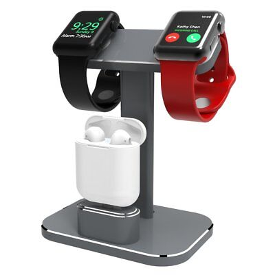 2 in1 Apple Watch Stand Dual Head Charging Dock Station AirPods Aluminium Holder