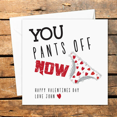 Personalised Valentines Day Card Knickers Off Rude Sex Hearts Funny Sexy Adult