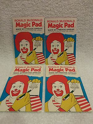 Last Set! VINTAGE McDonald's 1976 Mint & Rare Ronald McDonald Magic Pad set of 4