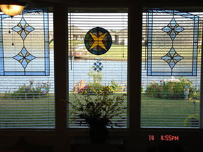Pair of Large Vibrant Stained Glass Windows Cobalt Blue