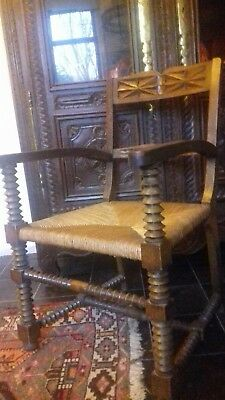 Beautiful Large Antique 19Thc French Hand Made Throne/carver Chair In Great Cond