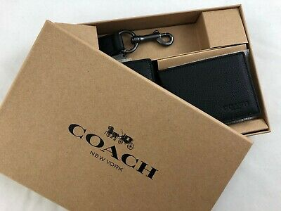b844d54e66635 NEW MEN S COACH F64118 Compact ID Sport Leather Wallet Gift Set in Black -   225