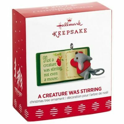 2017 Hallmark A CREATURE WAS STIRRING Mouse on book MINI miniature ORNAMENT 1st