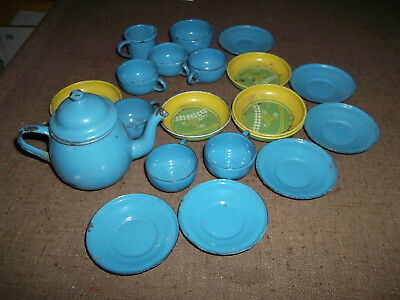 Collectible Antique Toy Dishes- 19 Piece Metal Enamelware Play Dishes- 19Th Cent