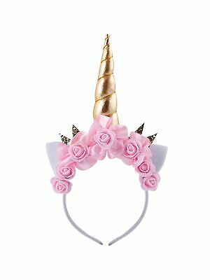 IFUNEYS Unicorn HornEars Flower Headband Cosplay Costume Celebration Birthday...