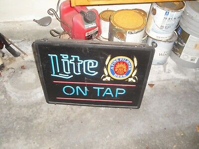 Vtg Miller High Life Beer Sign Old Neo Neon Style On Tap Bar Pub Light Man Cave