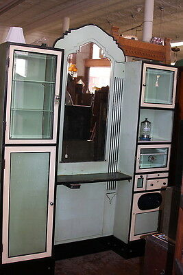 Art Deco Barber Shop Back Bar Jadite Green and Cream  Beveled Glass Mirror WOW !