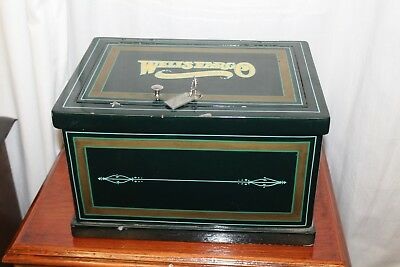 Early 1900s Original Strong Box Wells Fargo Cast Iron Vintage Safe Stage Coach