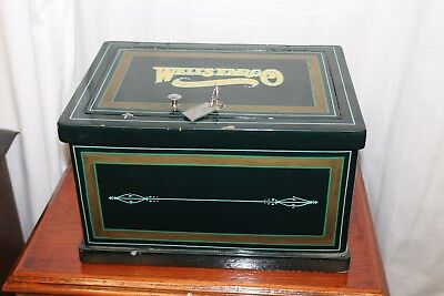 Early 1900s Original Strong Box Wells Fargo Themed Cast Iron Vintage Safe