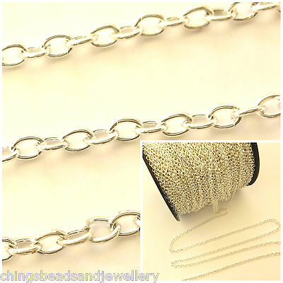 .925 Sterling Silver Plated 4.5x6mm Cable Chain Jewellery Making