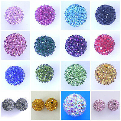 10 Shamballa Beads 8mm 10mm 12mm 18mm Clay Crystal Rhinestone Disco Ball Beads