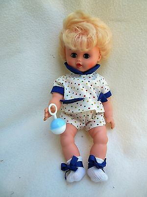 """Vintage 11"""" Vinyl Squeak Baby Doll with Rattle Made in Italy"""