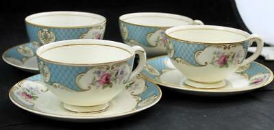 Myott STAFFORDSHIRE ROSE BLUE 4 Footed Cups & 3 Saucers Vintage 5657 GREAT COND