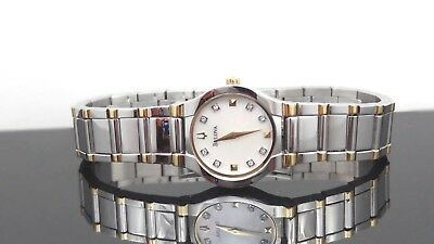 Bulova 98P104 Diamond Accented Mother-of-Pearl Dial Two Tone Women's Watch