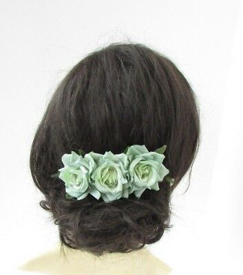 Triple Mint Green Rose Flower Hair Comb Bridesmaid Fascinator Rockabilly 4921