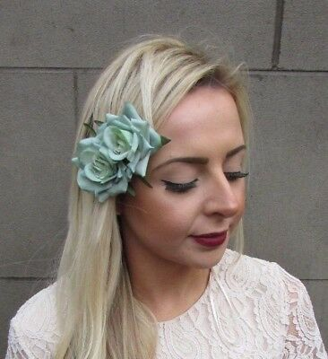 Double Mint Green Rose Flower Hair Clip Rockabilly Fascinator Bridesmaid 4925