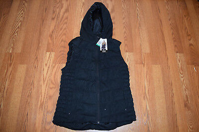 NWT Womens BE by BLANC NOIR Black Hooded Down Vest Jacket Size S Small