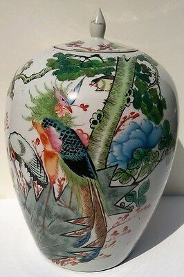 Large Chinese Jar porcelain hand painted antique signed calligraphy
