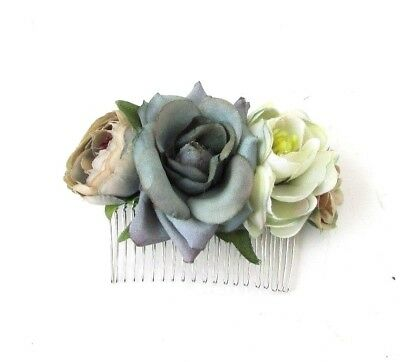 Grey Rose Flower Hair Comb Bridesmaid Fascinator Wedding Floral Vintage 4932