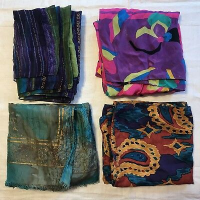 4 Scarves Oblong Large Hand Rolled Silk Neon Paisley Sheer Bright Vtg Scarf Lot