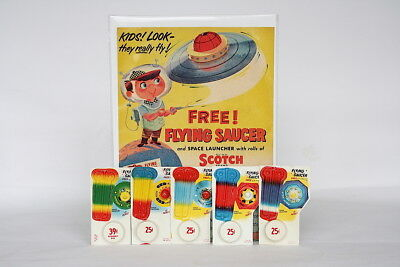 Vintage Flying Saucer Toys Scotch Tape Premium - RARE Outer Space Vintage Toy