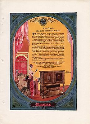 5 Full Page 1920 Color Brunswick Records & Phonograph  Ads