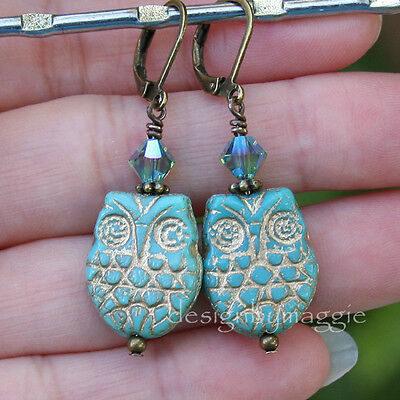 Owl Earrings Turquoise Color Czech Glass Crystal Antiqued Brass Bronze Leverback