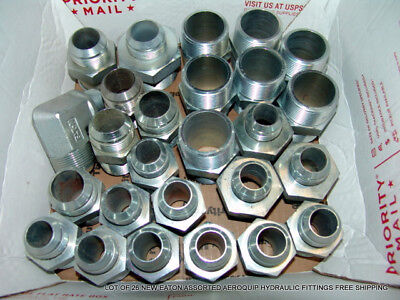 Lot Of 26 New Eaton Assorted Aeroquip Hydraulic Fittings Free Shipping