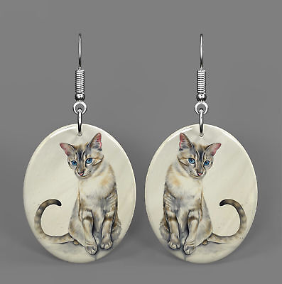 Mother of Peal Shell Printed Cat Earrings Oval Drop Fashion Gift R1706 0172