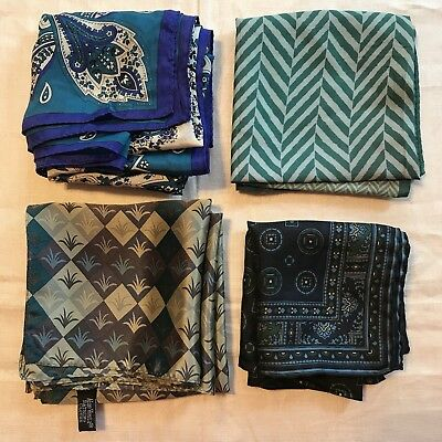 4 Scarves Square Silk Oscar DeLaRenta Green Blue Purple Aloe Vesta Vtg Scarf Lot