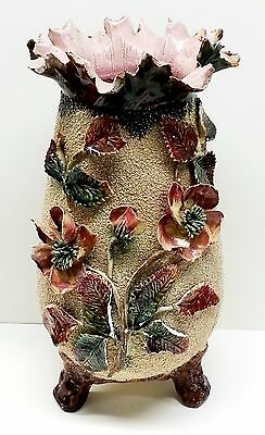 Antique Sand Vase Majolica Victorian Pink Wild Rose Footed Tall Pottery