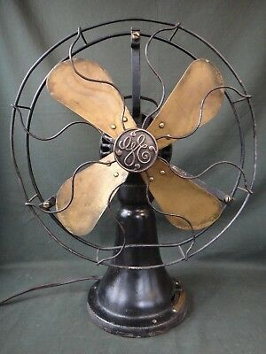 Antique GE Coin Operated Brass Blade Fan - Works - General Electric Hotel Fan