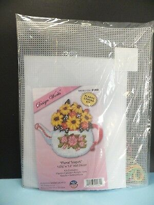 "BRAND NEW ""Floral Teapot"" by Design Works Plastic Canvas Kit"
