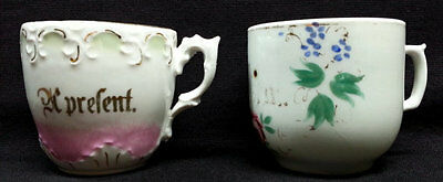 Antique German Mugs, Victorian A Present Floral Gilded Cups